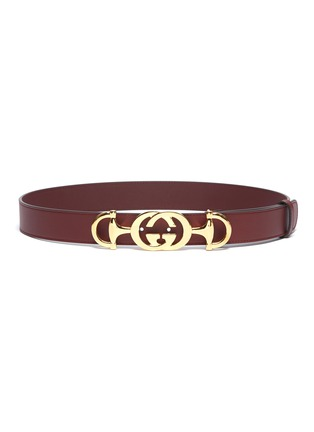 Main View - Click To Enlarge - GUCCI - Horsebit GG logo buckle leather belt