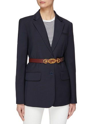 Figure View - Click To Enlarge - GUCCI - Horsebit GG logo buckle leather belt