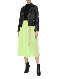 sacai Belted pleated wrap skirt