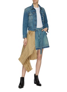 sacai Pleated twill asymmetric wrap panel patchwork denim shorts