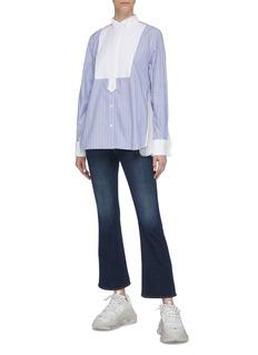 sacai Zip gusset contrast bib stripe shirt