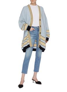 LOEWE Stripe jacquard hem oversized wool cardigan