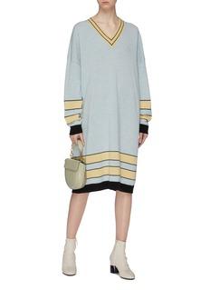 LOEWE Stripe jacquard hem oversized wool knit dress
