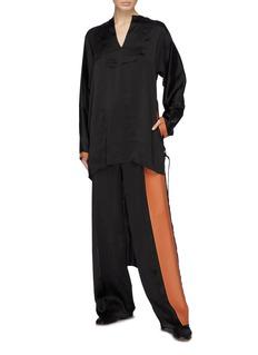 LOEWE Leather panel satin pants