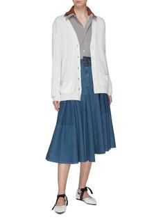 LOEWE Asymmetric panelled back wool cardigan