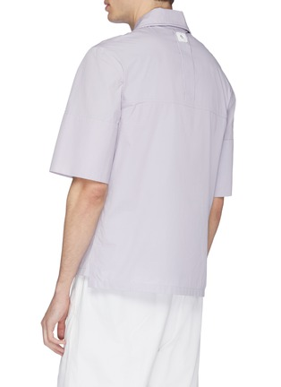 Back View - Click To Enlarge - STAFFONLY - 'Faguno' piping half placket short sleeve shirt