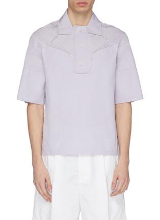 Main View - Click To Enlarge - STAFFONLY - 'Faguno' piping half placket short sleeve shirt
