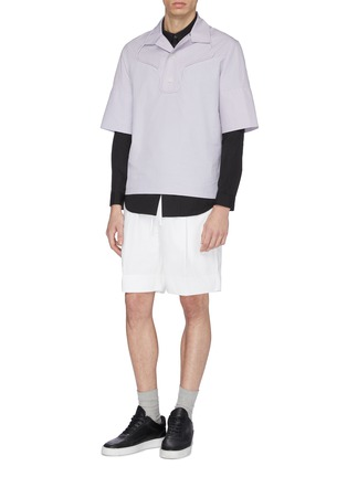 Figure View - Click To Enlarge - STAFFONLY - 'Faguno' piping half placket short sleeve shirt