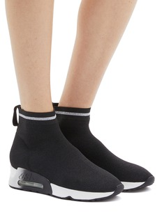 Ash 'Lovely' metallic stripe sock knit high top sneakers