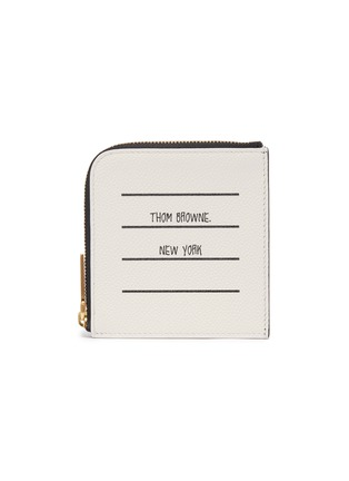 Main View - Click To Enlarge - THOM BROWNE - Label print pebble grain leather zip around wallet