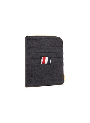 Figure View - Click To Enlarge - THOM BROWNE - Label print pebble grain leather zip around wallet