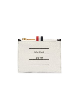 Main View - Click To Enlarge - THOM BROWNE - Label print small pebble grain leather wallet