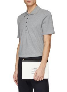 Thom Browne Logo print colourblock leather zip pouch