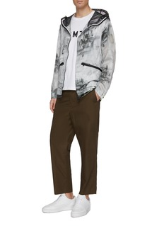 Moncler 'Chardin' mesh panel abstract print patchwork hooded jacket