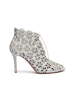 3270fb403efd9 Alaïa Geometric lasercut lace-up ankle boots