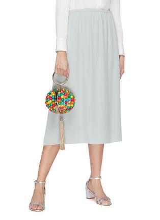 Figure View - Click To Enlarge - ROSANTICA - 'Billie Sphere' tassle ring handle bead bag