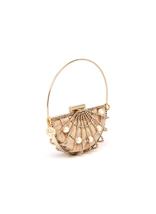 Detail View - Click To Enlarge - Rosantica - 'Jodi' faux pearl glass crystal openwork half moon bag
