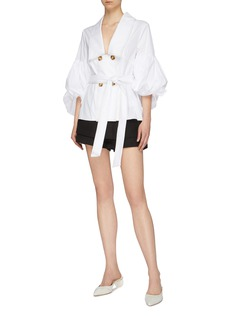 C/MEO COLLECTIVE 'Patent' belted balloon sleeve double breasted shirt