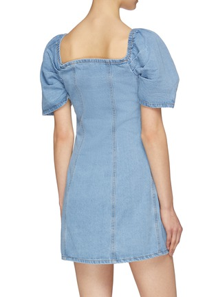 Back View - Click To Enlarge - C/MEO COLLECTIVE - 'For The Story' puff sleeve darted denim dress