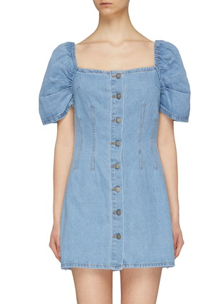 Main View - Click To Enlarge - C/MEO COLLECTIVE - 'For The Story' puff sleeve darted denim dress