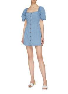 C/MEO COLLECTIVE 'For The Story' puff sleeve darted denim dress