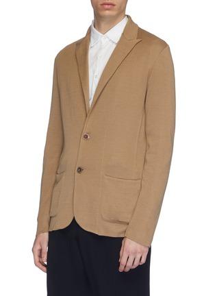 Front View - Click To Enlarge - LARDINI - Peaked lapel cotton knit cardigan