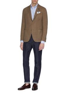 Lardini Wool-blend textured knit soft blazer