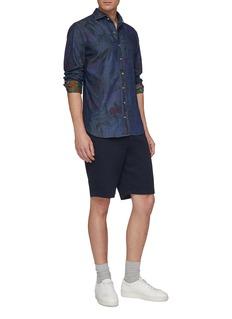 Christian Kimber Floral print slim fit denim shirt