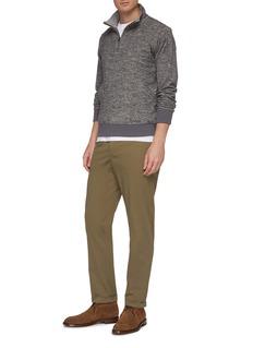 Christian Kimber Cotton-wool mock neck half-zip knit top