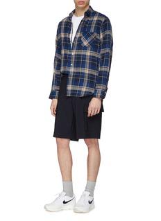 Solid Homme Zip waist tab twill cargo shorts