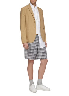 Solid Homme Belted check plaid linen-cotton shorts