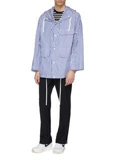 Solid Homme Flap pocket zip outseam stripe hooded parka