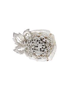 STAZIA LOREN Diamanté pearl rose brooch