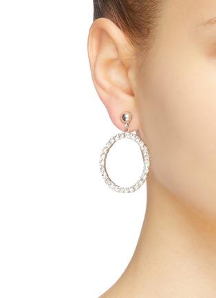 Figure View - Click To Enlarge - STAZIA LOREN - Diamanté hoop drop earrings