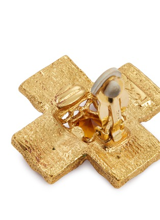 Detail View - Click To Enlarge - STAZIA LOREN - Diamanté cross stud clip earrings