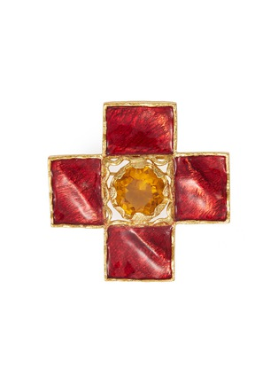 Main View - Click To Enlarge - STAZIA LOREN - Gemstone embellished cross brooch