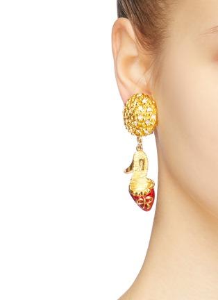 Figure View - Click To Enlarge - STAZIA LOREN - Diamanté pump drop clip earrings