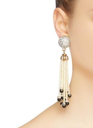 Figure View - Click To Enlarge - Stazia Loren - Diamanté pearl fringe clip earrings