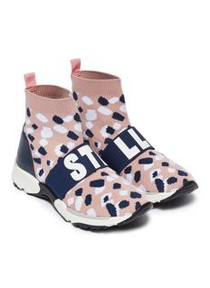 Stella Mccartney Kids Logo band abstract camouflage intarsia kids sock knit sneakers
