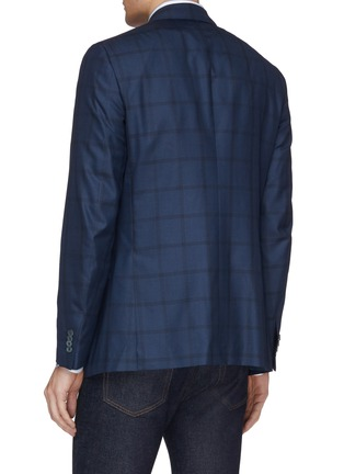 Back View - Click To Enlarge - ISAIA - 'Gregorio' windowpane check wool-silk blazer