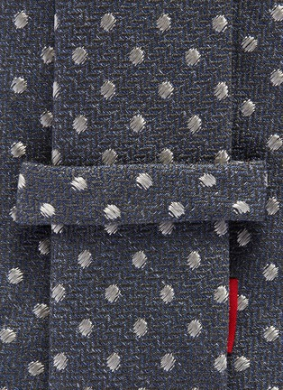 Detail View - Click To Enlarge - ISAIA - Polka dot embroidered cotton-silk tie