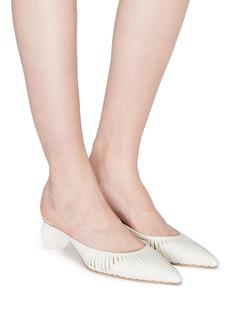 Cult Gaia 'Alia' cylindrical heel cutout leather mules