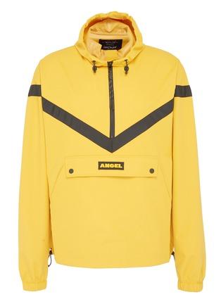 Main View - Click To Enlarge - Angel Chen - Logo patch chevron stripe unisex half-zip hoodie