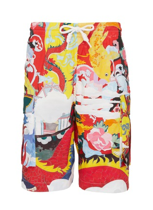 Main View - Click To Enlarge - ANGEL CHEN - Graphic print unisex cargo shorts