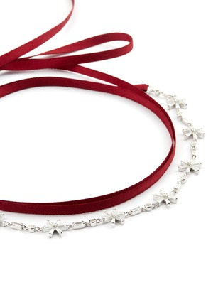 Detail View - Click To Enlarge - HEFANG - 'Float Snow' cubic zirconia silver ribbon tie choker