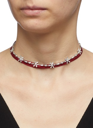 Figure View - Click To Enlarge - HEFANG - 'Float Snow' cubic zirconia silver ribbon tie choker