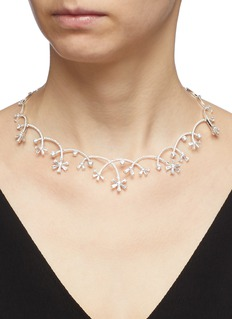 HEFANG 'Ice Worlds' cubic zirconia silver necklace
