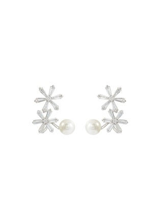 Main View - Click To Enlarge - HEFANG - 'Ice World' cubic zirconia shell pearl silver stud earrings