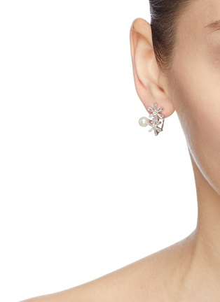 Figure View - Click To Enlarge - HEFANG - 'Ice World' cubic zirconia shell pearl silver stud earrings