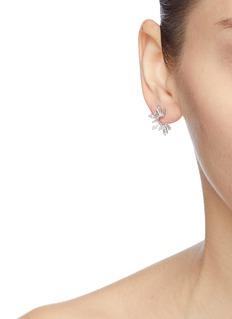 HEFANG 'Frozen Ice' cubic zirconia silver stud earrings